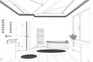 Badplanung von einem Badezimmer mit CAD als Drahtgittermodell